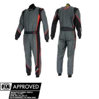 Turn One V-Pro Dark Edition Race Suit - Anthracite/Red
